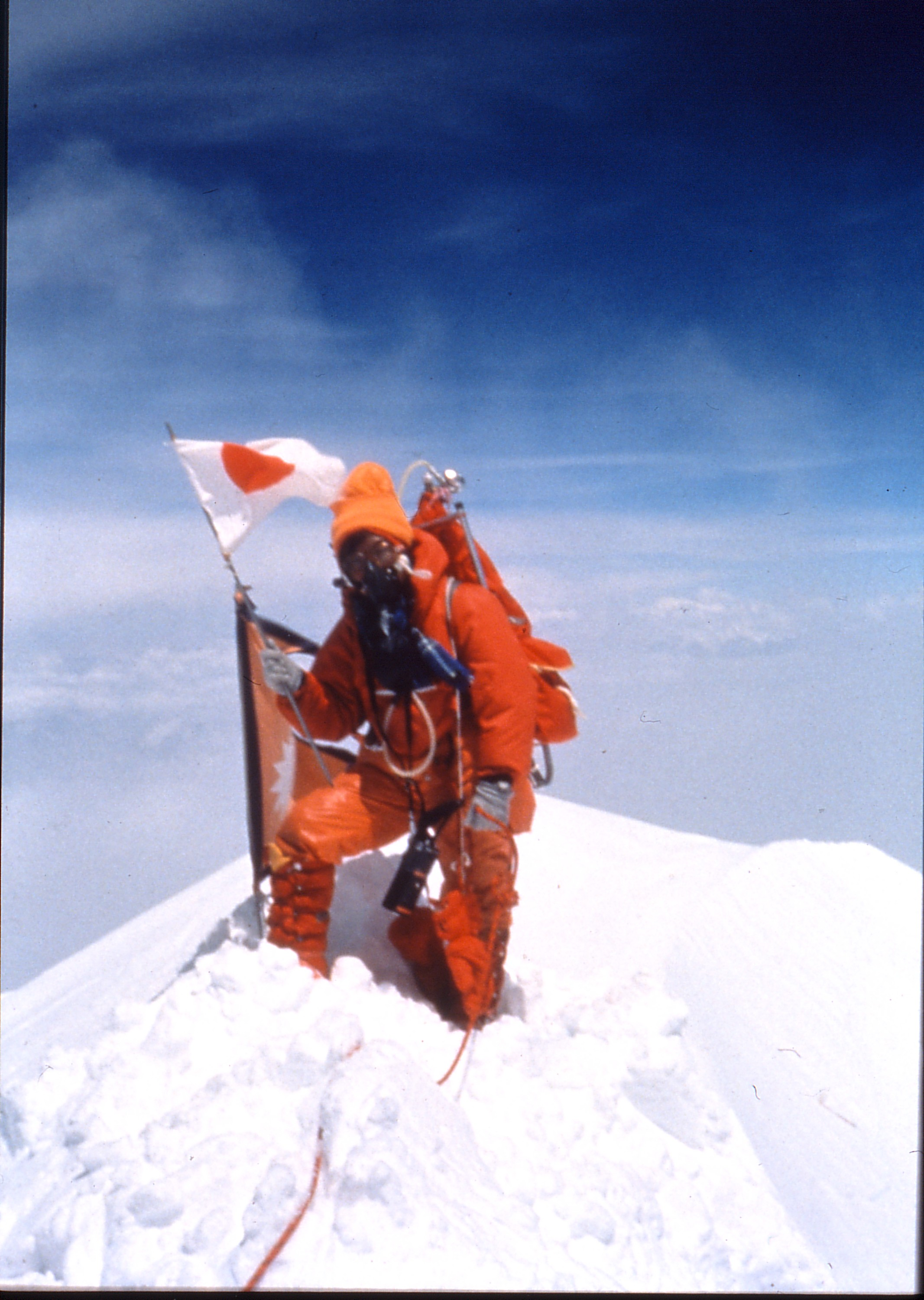 Junko Tabei at the summit of Mount Everest
